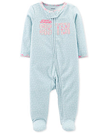 Carter's Baby Girls Little Sister Footed Fleece Coverall