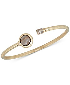 Smoky quartz (1-1/2 ct. t.w.) and Diamond (1/5 ct. t.w.) Bangle Bracelet in 14k Gold over Sterling Silver