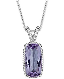 """Blue Topaz (6 ct. t.w.) Rope Frame 18"""" Pendant Necklace in Sterling Silver (Also Available in Mystic Topaz)"""