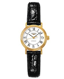 Longines Women's Swiss Automatic Presence Black Croc Embossed Leather Strap Watch L43212112