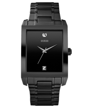 Guess Watch, Men's Diamond Accent Black Ion Plated Stainless Steel Bracelet 41x37mm U12557G1
