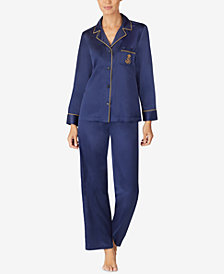 Lauren Ralph Lauren Notch Collar Satin Pajama Set