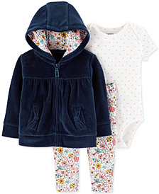 Carter's Baby Girls 3-Pc. Velour Hoodie, Bodysuit & Floral-Print Pants Set