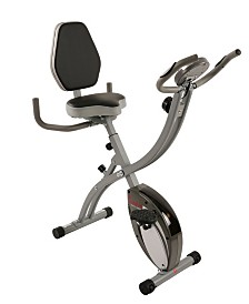 Sunny Health & Fitness Folding Magnetic Semi Recumbent Upright Bike, Comfort XL with High Weight Capacity and Pulse Rate Monitoring