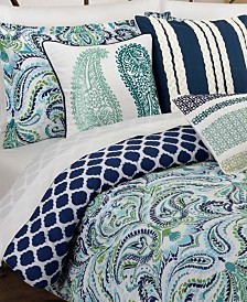 Painterly Paisley Blue Full/Queen Comforter Set