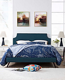 Corene King Fabric Platform Bed with Round Splayed Legs