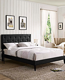 Tarah Queen Vinyl Platform Bed with Squared Tapered Legs