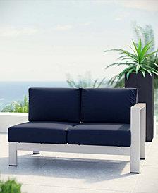 Shore Right-Arm Corner Sectional Outdoor Patio Aluminum Loveseat