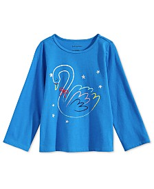 First Impressions Baby Girls Swan-Print Cotton T-Shirt, Created for Macy's