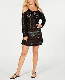 Dotti Crochet Cold-Shoulder Dress Cover-Up