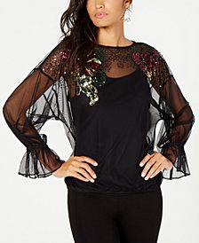 Thalia Sodi Embellished Mesh Top, Created for Macy's