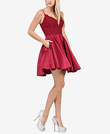 Dancing Queen Juniors' Embellished Lace Fit & Flare Dress