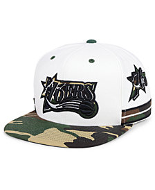 Mitchell & Ness Philadelphia 76ers Straight Fire Camo Hook Snapback Cap
