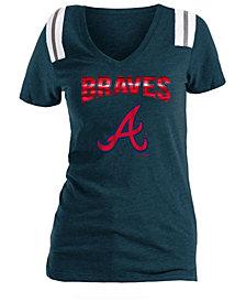 5th & Ocean Women's Atlanta Braves Shoulder Stripe Foil T-Shirt