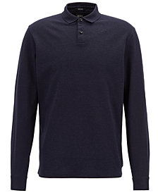 BOSS Men's Regular/Classic-Fit Long-Sleeve Cotton Polo