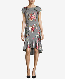 ECI Mixed-Print High-Low Dress
