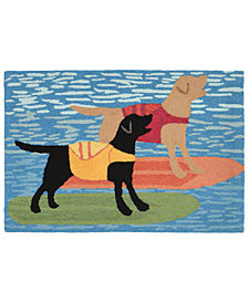 "Liora Manne Front Porch Indoor/Outdoor Surfboard Dogs Ocean 2'6"" x 4' Area Rug"
