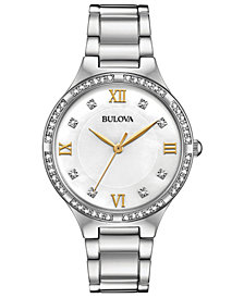 Bulova Women's Crystal Stainless Steel Bracelet Watch 34mm, Created for Macy's