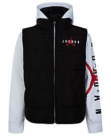 Jordan Little Boys Layered-Look Hooded Puffer Jacket