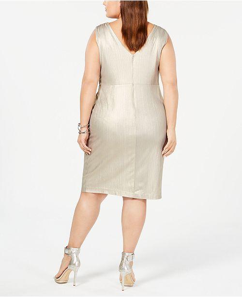 394f6a0f5c Calvin Klein Plus Size Metallic Twist-Front Jersey Dress   Reviews ...