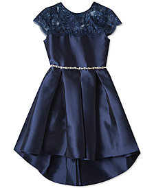 Rare Editions Little Girls Illusion Neck Satin Dress