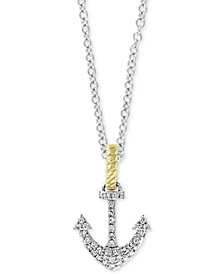 """EFFY® Diamond Two-Tone Anchor 18"""" Pendant Necklace (1/6 ct. t.w.) in 14k Gold & White Gold"""