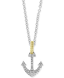 "EFFY® Diamond Two-Tone Anchor 18"" Pendant Necklace (1/6 ct. t.w.) in 14k Gold & White Gold"