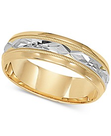 Two-Tone Decorative Beaded Edge Wedding Band in 14k Gold & White Gold