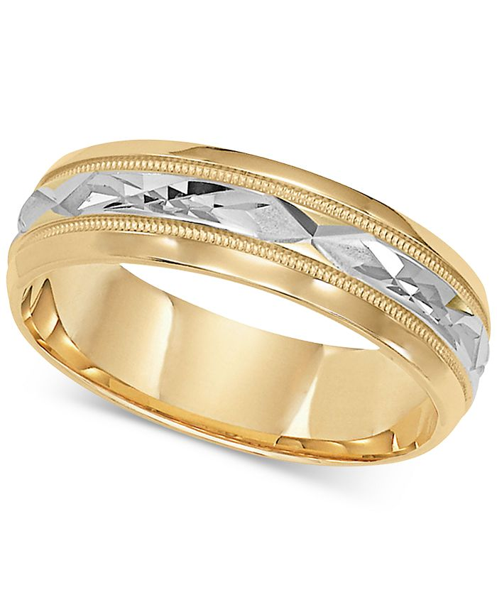 Macy's - Two-Tone Decorative Beaded Edge Wedding Band in 14k Gold & White Gold