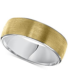 Two-Tone Rolled Edge Wedding Band in 14k Gold & White Gold