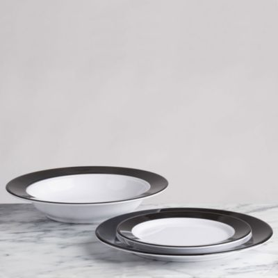 Moonbeam Ring Black Melamine 4-Pc. Salad Plate Set