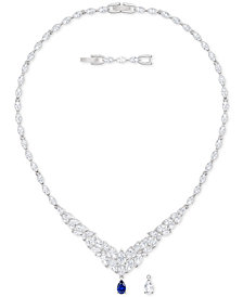 "Swarovski Silver-Tone Crystal 14-4/5"" Statement Necklace"