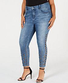 YSJ Plus Size Grommet-Trimmed Skinny Ankle Jeans
