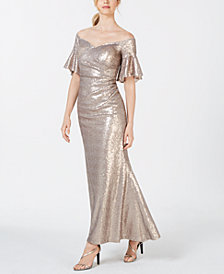 Calvin Klein Sequin Off-The-Shoulder Gown