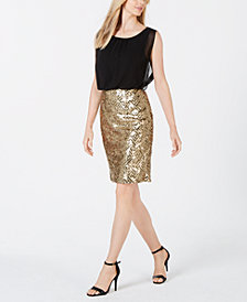 Calvin Klein Sequin Skirt Sheath Dress