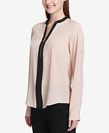Calvin Klein Two-Tone Zip Blouse