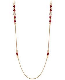 "Nine West Gold-Tone Pavé Ball & Bead 42"" Strand Necklace"