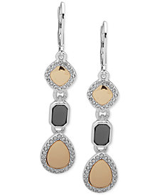 Nine West Tri-Tone Pavé Triple Drop Earrings