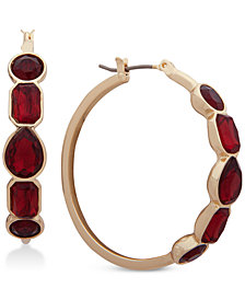 "Nine West Stone 1-2/5"" Hoop Earrings"