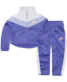 Nike Little Girls 2-Pc. Chevron Track Suit Set