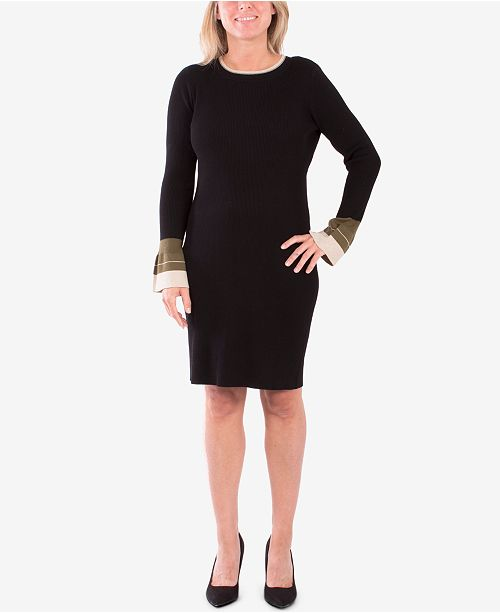 NY Collection Colorblocked Bell-Sleeve Sweater Dress