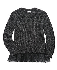 Epic Threads Big Girls Mesh-Trim Sweater, Created for Macy's