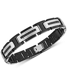 Men's Black Sapphire Link Bracelet (5/8 ct. t.w.) in Stainless Steel & Black Ion-Plate