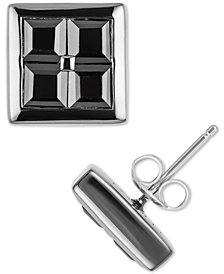 Men's Black Sapphire Square Stud Earrings (3-3/4 ct. t.w.) Sterling Silver & Black Rhodium-Plate