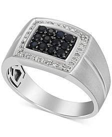 Men's Black Sapphire (1/3 ct. t.w.) & Diamond (1/6 ct. t.w.) Ring in 10k White Gold