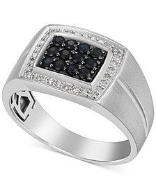Men's Black Sapphire (1/3 ct. t.w.) & Diamond (1/6 ct. t.w.) Ring in 10k White Gold
