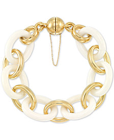 Signature Gold™ White Agate Large Link Bracelet in 14k Gold over Resin Core