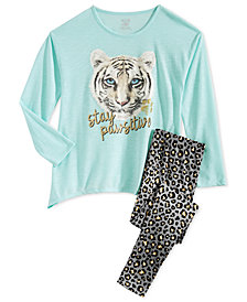 Max & Olivia Big Girls 2-Pc. Stay Pawsative Pajamas Set, Created for Macy's