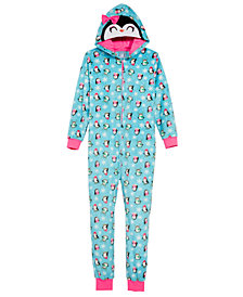 Max & Olivia Big Girls Penguin Hooded Onesie, Created for Macy's