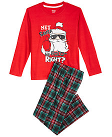 Max & Olivia Little & Big Boys 2-Pc. Hey Santa Pajamas Set